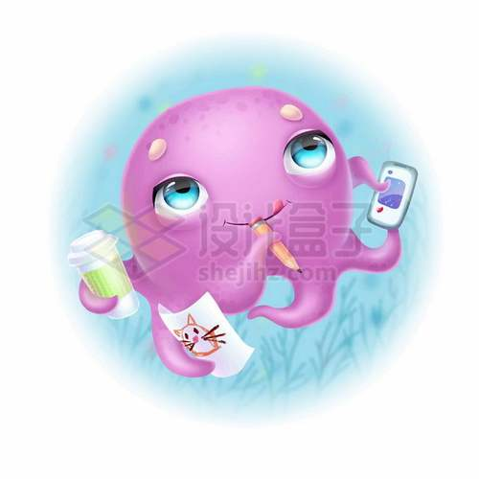 超可爱的卡通小章鱼拿着铅笔手机和绘画3032851矢量图片免抠素材免费下载