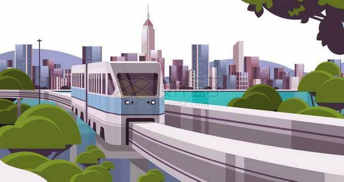 重庆城市天际线和近处的有轨列车轨道交通风景6491075矢量图片免抠素材免费下载