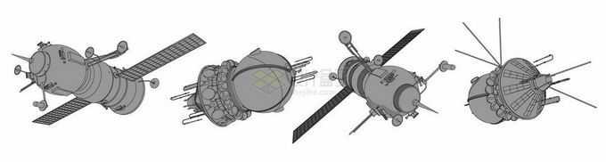 4款宇宙飞船太空探索手绘插画3183777矢量图片免抠素材免费下载