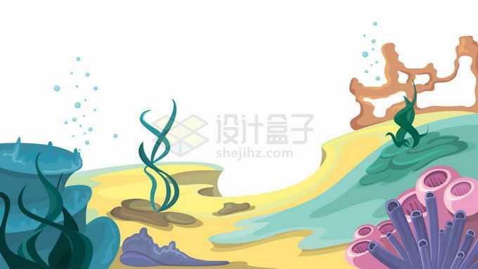 卡通漫画风格热带海洋海底的珊瑚礁海底世界9604877矢量图片免抠素材免费下载