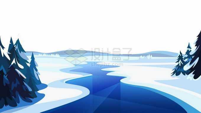 卡通漫画风格冬天大雪覆盖的雪原和蓝色结冰的河流森林风景4914115矢量图片免抠素材免费下载