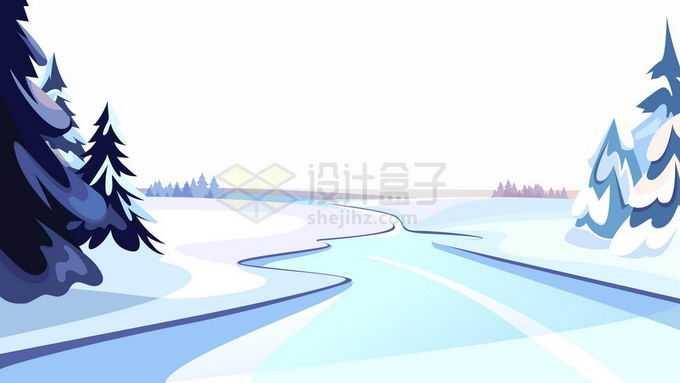 卡通漫画风格冬天大雪覆盖的雪原和结冰的河流以及森林风景2374275矢量图片免抠素材免费下载