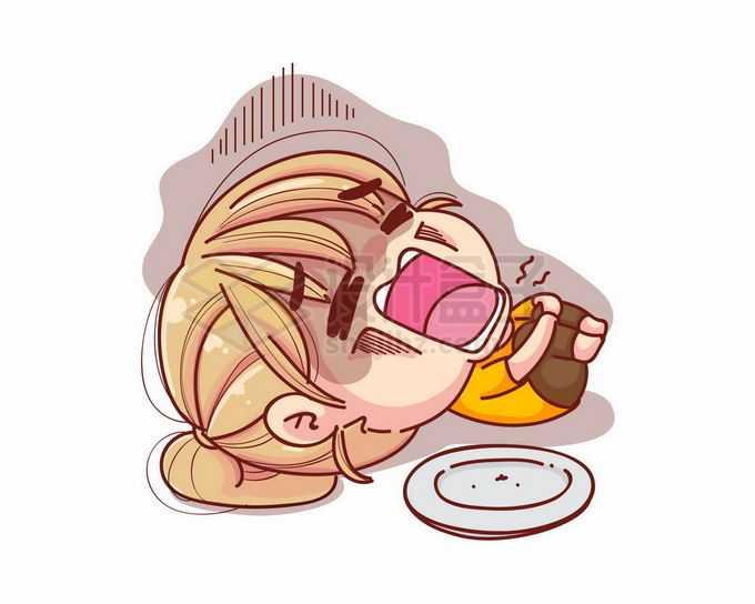 卡通女孩吃撑了吃坏东西了肚子疼5091544矢量图片免抠素材免费下载