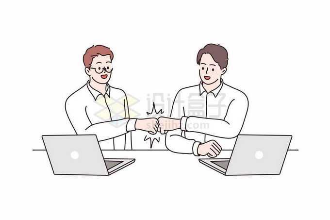 2个程序员解决问题了相互碰拳头庆祝手绘线条插画8295608矢量图片免抠素材免费下载