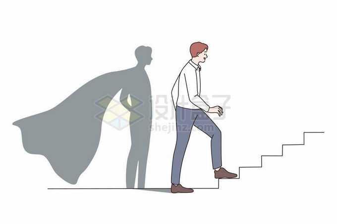 商务人士正在爬楼梯影子是超人象征了职业上升手绘线条插画6027584矢量图片免抠素材免费下载
