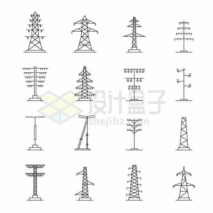 16款黑色线条高压电传输电塔电线杆3453901矢量图片免抠素材免费下载
