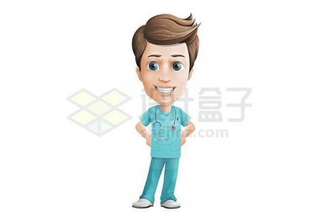 身穿蓝绿色服装的卡通男医生3574450png免抠图片素材