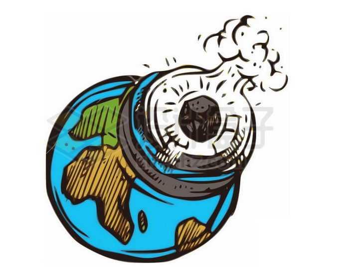手绘风格陨石小行星撞击地球插画4130336png免抠图片素材