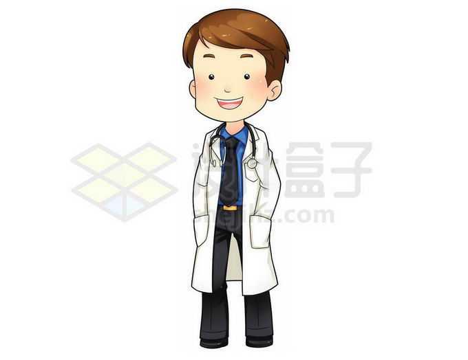 手插在口袋中的卡通男医生7434118png免抠图片素材