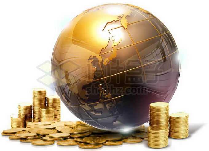 金色的地球模型和金币象征了财富3205808png免抠图片素材
