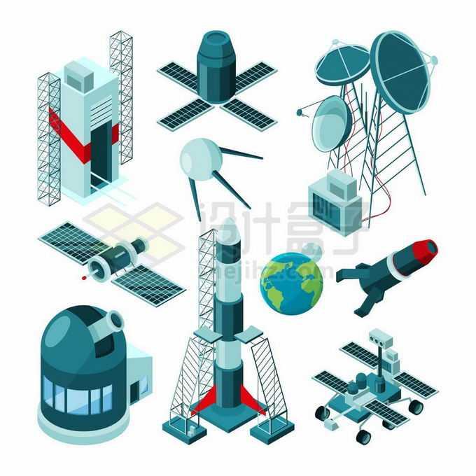 火箭发射塔卫星天文望远镜运载火箭月球车火星车等宇宙探索4910590矢量图片免抠素材免费下载