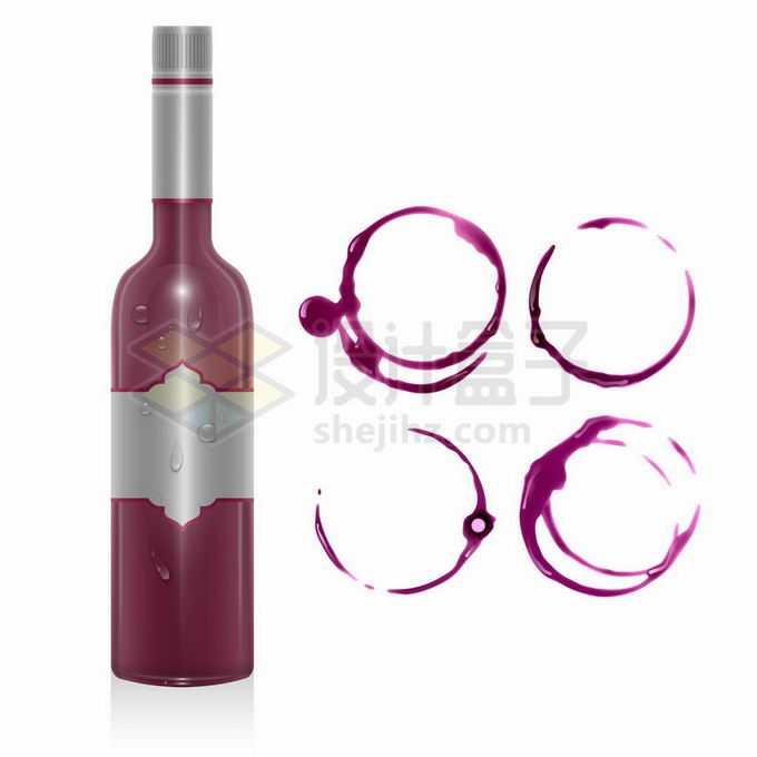 一瓶葡萄酒和粉红色的污渍圆圈6951185矢量图片免抠素材免费下载
