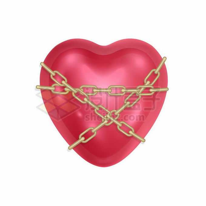 被金色铁链锁住的红心图案象征了爱情的忠贞不渝8866245矢量图片免抠素材免费下载