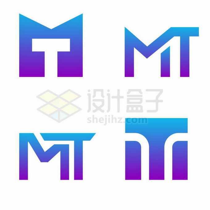 4款蓝紫色渐变色风格大写字母T标志logo图案设计方案1211926矢量图片免抠素材免费下载
