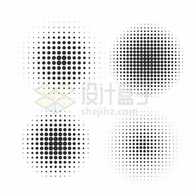 4款大小渐变的圆点组成的马赛克图案7549889矢量图片免抠素材免费下载