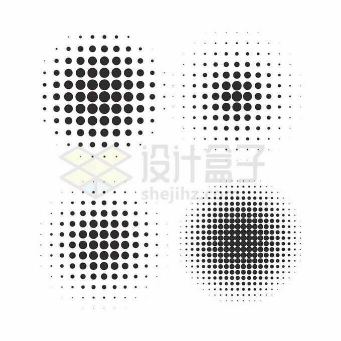 4款大小渐变的圆点组成的马赛克图案5273929矢量图片免抠素材免费下载