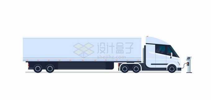 一辆正在充电桩充电的白色厢式卡车纯电动货车5502223矢量图片免抠素材免费下载