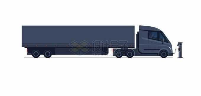 一辆正在充电桩充电的黑色厢式卡车纯电动货车4486455矢量图片免抠素材免费下载