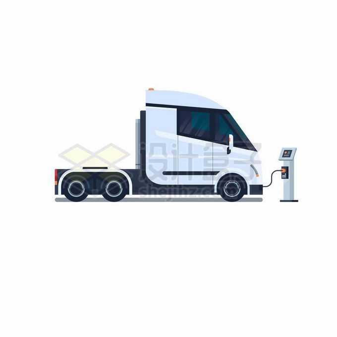 一辆正在充电桩充电的白色厢式卡车纯电动货车车头2529823矢量图片免抠素材免费下载