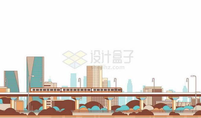 远处的城市建筑天际线和高架桥上飞驰而过的高铁插画8190505矢量图片免抠素材免费下载
