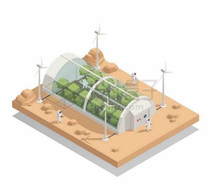 2.5D风格未来火星上种满植物的生态舱和风力发电4468547矢量图片免抠素材免费下载
