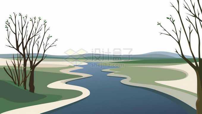 卡通漫画风格草原和河流森林风景5974101矢量图片免抠素材免费下载