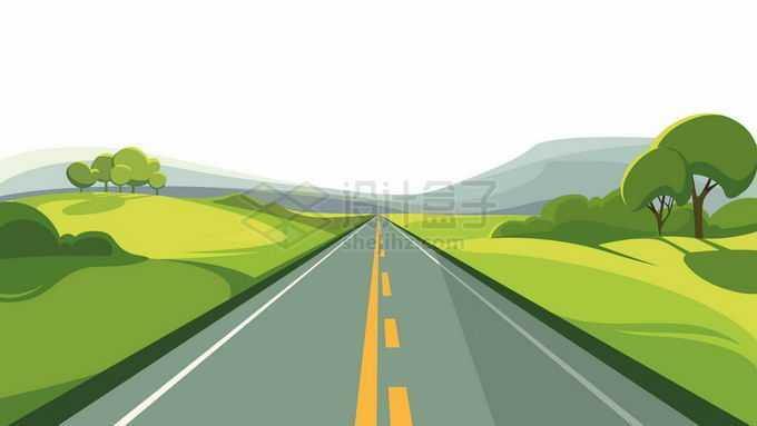卡通漫画风格通往远处的马路和两旁的草原树林风景1865928矢量图片免抠素材免费下载