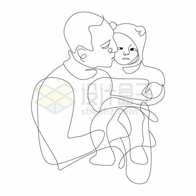 爸爸抱着女儿孩子父亲节线条简笔画2832294矢量图片免抠素材免费下载