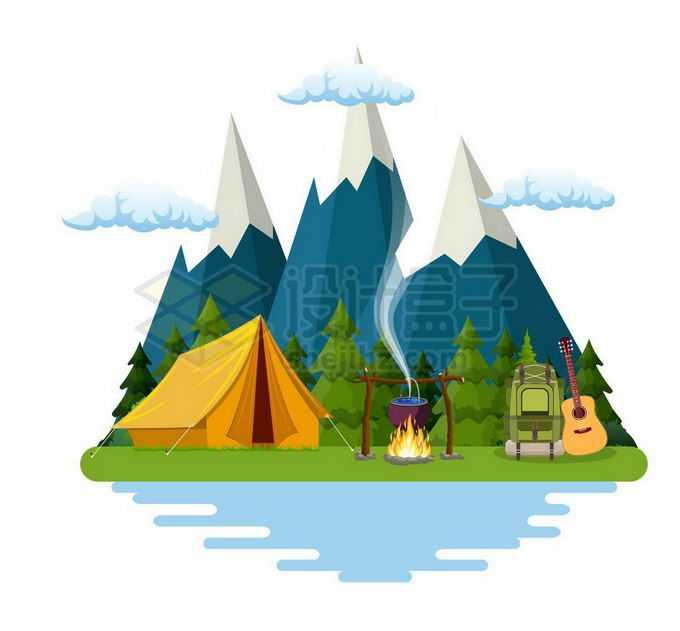 卡通雪山高山和帐篷篝火户外旅行7865583矢量图片免抠素材免费下载