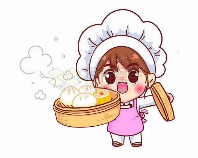 超可爱的卡通美女厨师拿出一笼蒸包子3570779矢量图片免抠素材免费下载