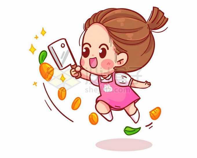 超可爱卡通女孩拿着菜刀切开胡萝卜美女厨师6756230矢量图片免抠素材免费下载