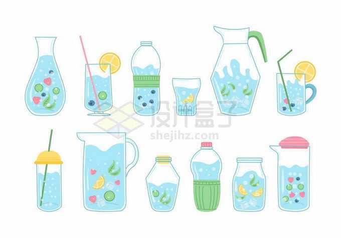 12款卡通水杯瓶子中的水果汁饮料插画4481863矢量图片免抠素材免费下载