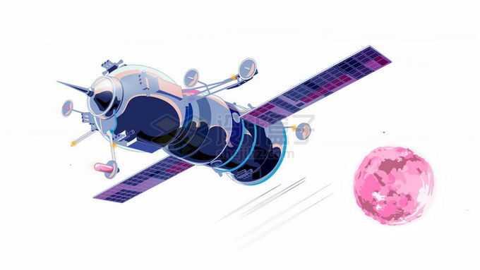 飞向火星的宇宙飞船探测器彩绘插画7746518矢量图片免抠素材免费下载