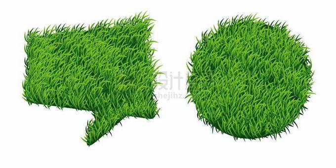 绿色草坪草原草地对话框和圆形文本框信息框3621725矢量图片免抠素材免费下载