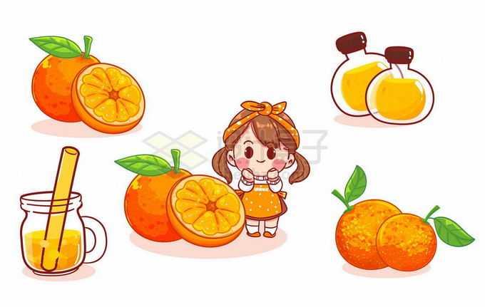 超可爱的卡通女孩和橙子橙汁小吃货健康减肥水果美食9795854矢量图片免抠素材免费下载