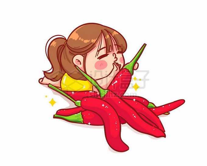 超可爱的卡通女孩正在吃辣椒辣妹子6027682矢量图片免抠素材免费下载