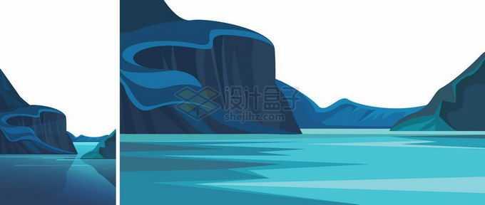 卡通漫画风格蓝色峡湾峡谷风景8401932矢量图片免抠素材免费下载