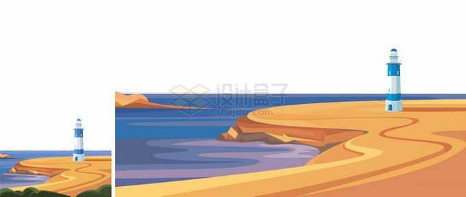 卡通漫画风格海边的沙漠灯塔风景2515402矢量图片免抠素材免费下载