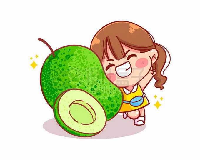 超可爱的卡通女孩和牛油果小吃货健康减肥水果美食4468999矢量图片免抠素材免费下载