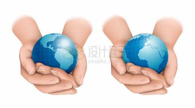 2款双手捧着的蓝色地球保护地球5123304矢量图片免抠素材免费下载