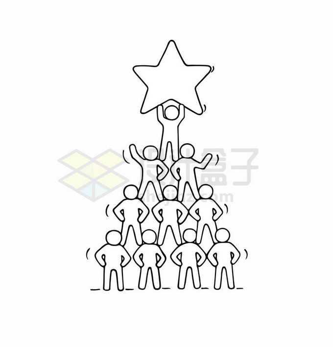 卡通线条小白人团队合作励志插画5545393矢量图片免抠素材免费下载