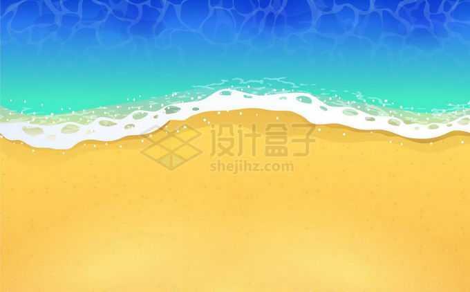 卡通蓝色的海水潮水和黄灿灿的沙滩海滩背景6061846矢量图片免抠素材免费下载