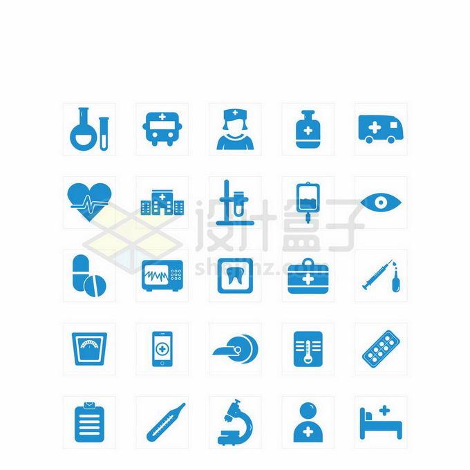 蓝色试管救护车护士医生显微镜等医疗图标7808225矢量图片免抠素材免费下载