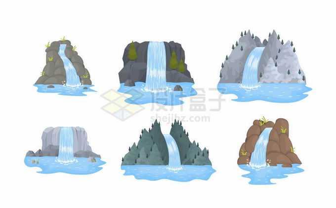 6款卡通瀑布山泉风景1781341矢量图片免抠素材免费下载