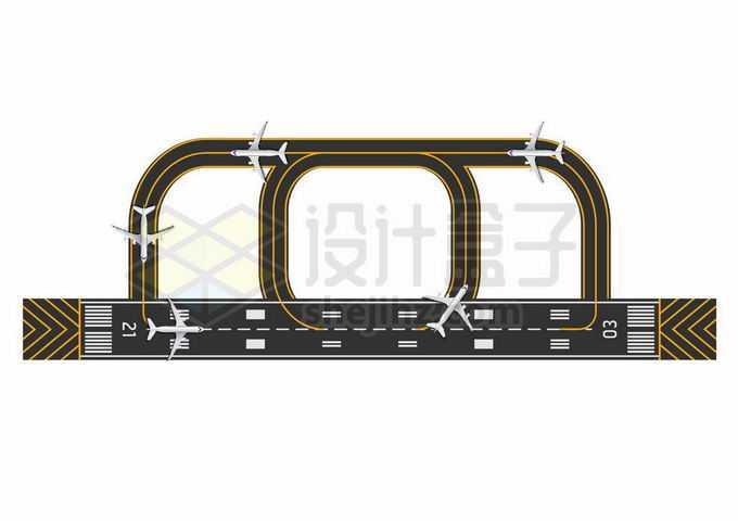 繁忙的国际机场飞行跑道停机坪俯视图平面图2637041矢量图片免抠素材免费下载