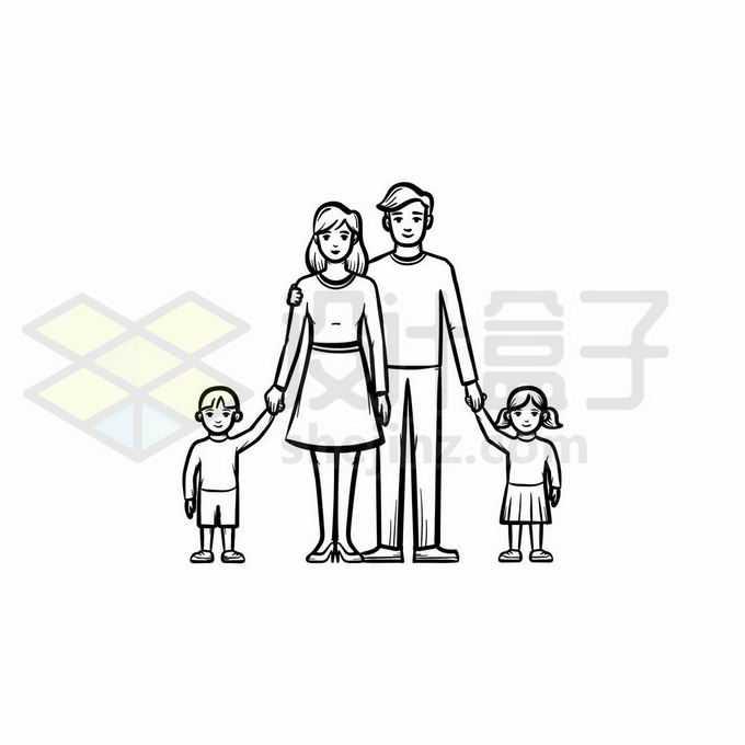 爸爸妈妈和儿子女儿一家四口幸福之家手绘线条插画6648671矢量图片免抠素材免费下载