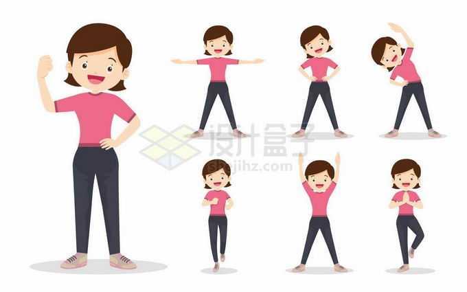 卡通女人正在锻炼身体1455367矢量图片免抠素材免费下载