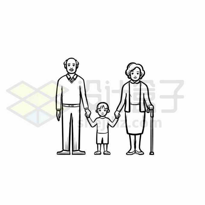 爷爷奶奶外婆外公和孙子孙女手牵手手绘线条插画9117679矢量图片免抠素材免费下载