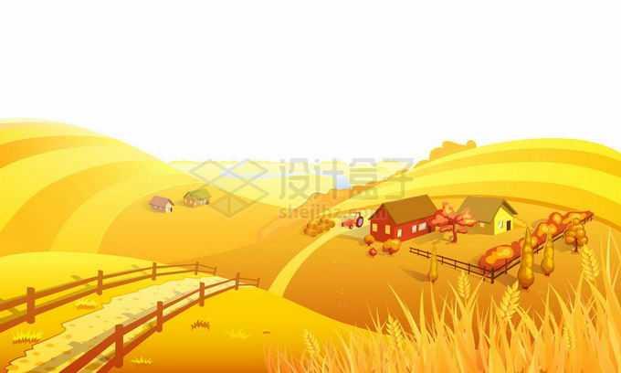 秋天金黄色的大地原野卡通乡村风景7917718矢量图片免抠素材免费下载