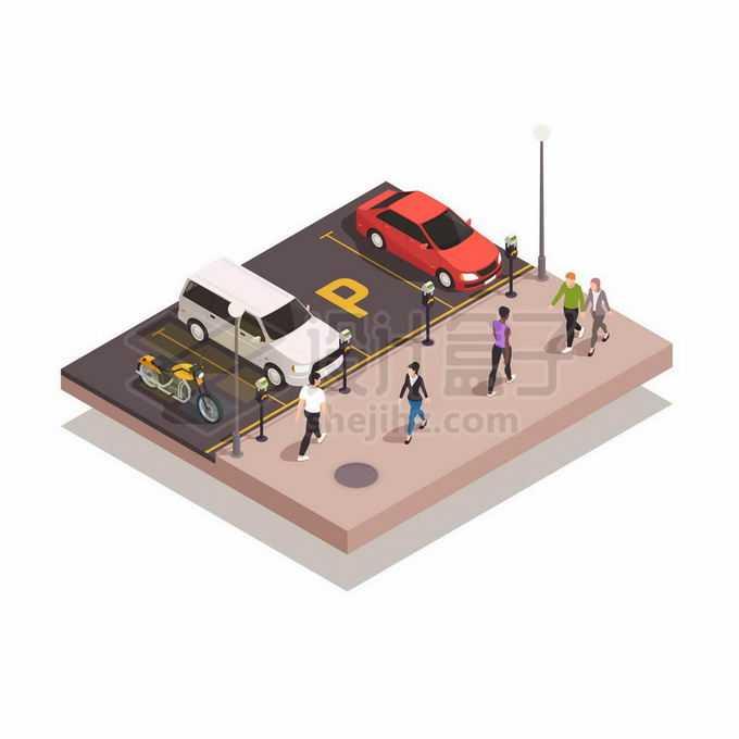 2.5D风格停车场的停车位上停放汽车和行人路过6046781矢量图片免抠素材免费下载